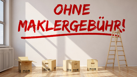 forwarding agency: Room with German slogan Ohne Maklergebuehr! (Without realtor commission) on a wall (3D Rendering)