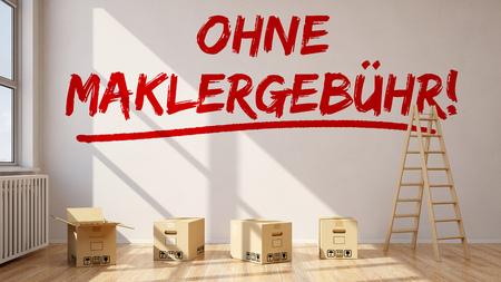 """Zimmer mit deutschen Slogan """"Ohne Maklergebuehr!"""" (Ohne Maklerprovision) an einer Wand (3D-Rendering)"""