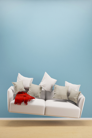 zero gravity: Light and weightless sofa flying in a living room (3D Rendering)
