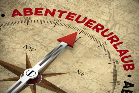 adventure holiday: Compass on vintage map pointing to the German word Abenteuerurlaub (adventure holiday) (3D Rendering) Stock Photo