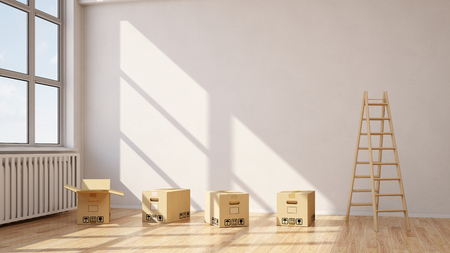 apartment for rent: Relocation with moving boxes in a room with a wooden ladder (3D Rendering)