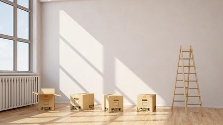 Verhuizing met verhuisdozen in een kamer met een houten ladder (3D rendering) Stockfoto