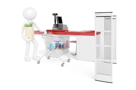 guy standing: White 3D Guy standing at supermarket checkout with electronic alarm system (3D Rendering)