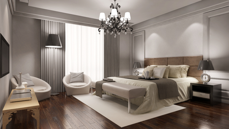 Elegant hotel room suite with double bed and other furniture (3D Rendering)