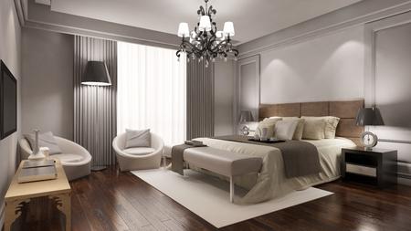 Elégante chambre d'hôtel suite avec lit double et d'autres meubles (rendu 3D) Banque d'images