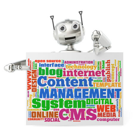 copies: Cute robot holding CMS tag cloud on a billboard sign (3D Rendering) Stock Photo