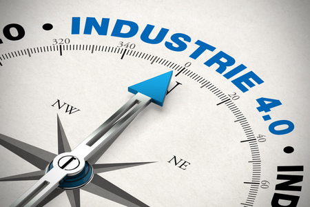 industrie: Compass pointing to the German word Industrie 4.0 (industry 4.0) (3D Rendering)