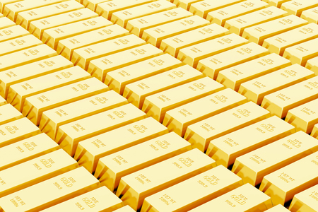Background of many gold bars in a federal bank (3D Rendering)