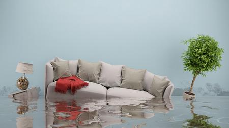 Danni dell'acqua dopo inondazioni in casa con mobili galleggianti (rendering 3D)