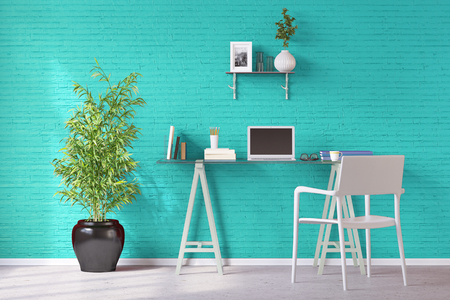 Home Office with desk and laptop computer at turquoise wall (3D Rendering)