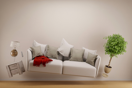 weightless: Zero gravity living room with hoovering sofa and furniture (3D Rendering)
