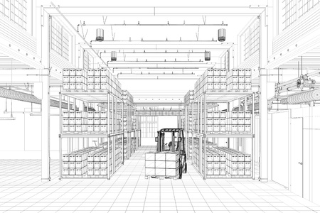 forwarding agency: CAD wireframe mesh of a warehouse with forklift (3D Rendering)