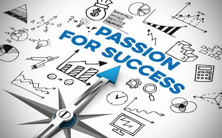 Passie voor succes in bedrijfsconcept op een kompas (3D rendering) Stockfoto