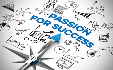 pasion: Passion for Success in Business concept on a compass (3D Rendering)