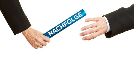 supervisory: Business hands passing blue baton with german word Nachfolge (succession) as change of leadership concept