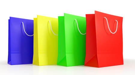 Four colored shopping bags isolated on white in a row (3D Rendering)
