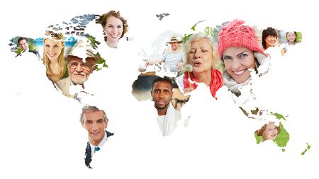 Faces of many people on world map as diversity concept Stockfoto