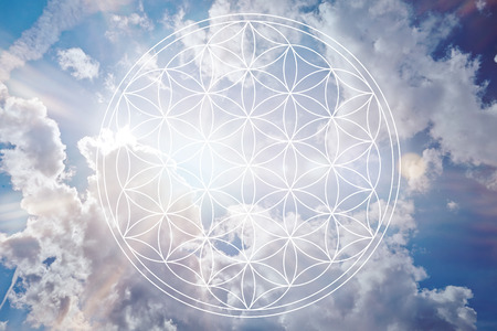 lives: Flower of life in the sky as holistic reiki sign