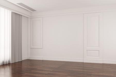 cuarto brillante vacío en la vieja casa con piso de parquet de roble (3D)
