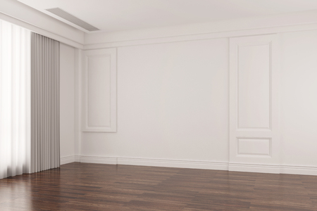 Empty bright room in old house with oak floor parquet (3D Rendering) Standard-Bild
