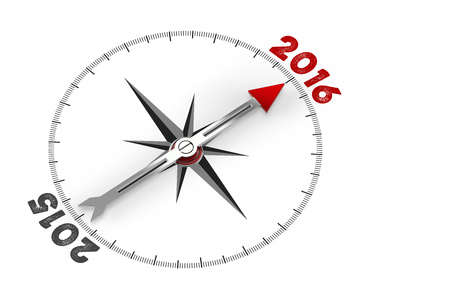 turn of the year: Red arrow of a compass pointing to year 2016 (3D Rendering) Stock Photo