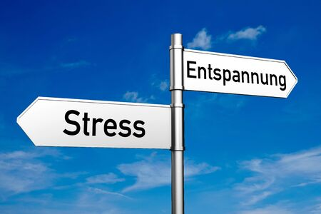 balance: Street signs with German words Stress (stress) and Entspannung (relaxation) (3D Rendering) Stock Photo