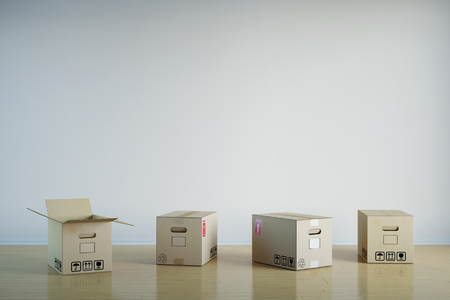forwarding agency: Many moving boxes in empty room in front of a wall (3D Rendering) Stock Photo