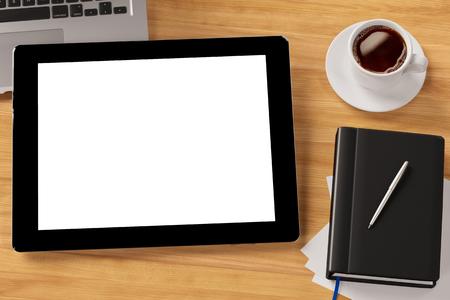 태블릿 컴퓨터 (3D 렌더링) 사무실에서 바탕 화면