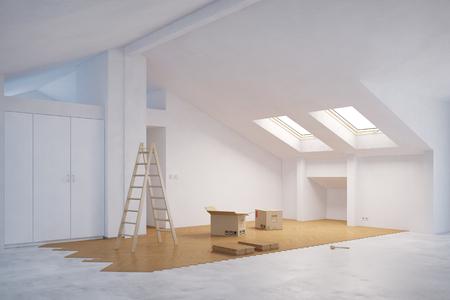 Aufbahrung neue Holzboden im Dachzimmer (3D-Rendering) Standard-Bild - 70154537
