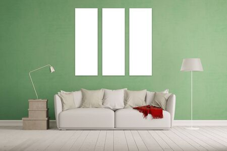 living room wall: Living room with white three piece triptychon canvas on a wall (3D Rendering)
