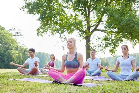 Groep mensen mediteren in het park voor welness en een goede gezondheid