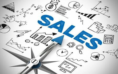 maximization: Arrow of a compass pointing to Business Sales concept (3D Rendering)