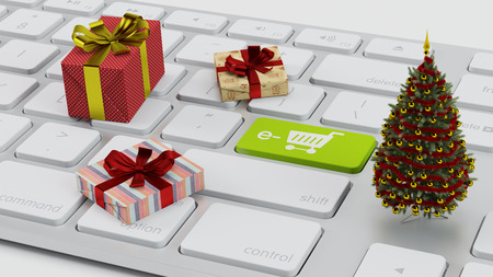 Ecommerce concept with gifts and christmas tree on a computer keyboard (3D Rendering)