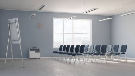 Seminar room with flipchart and many chairs ready for a business presentation (3D Rendering)