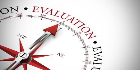 Red arrow of a compass pointing to Evaluation concept (3D Rendering) Stock Photo