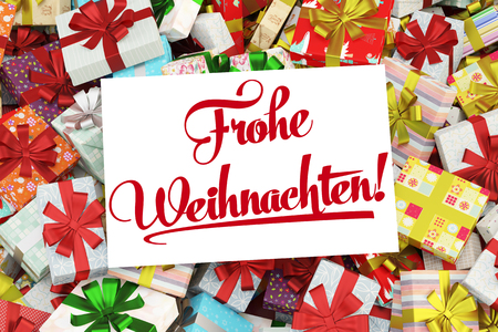 Card in German saying Frohe Weihnachten (merry christmas) with many gifts (3D Rendering)