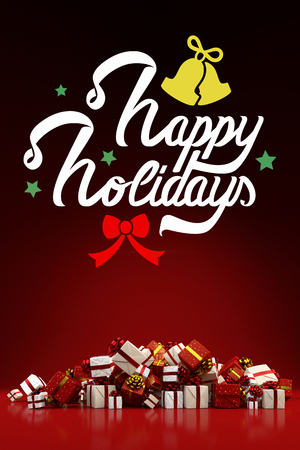 Christmas card with happy holidays and many gifts (3D Rendering)
