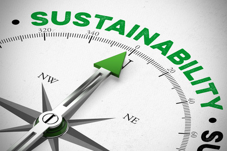 Green arrow of a compass pointing to Sustainability concept (3D Rendering) Stock Photo