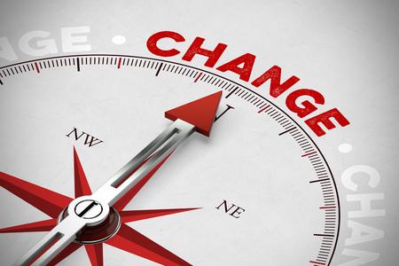 Flecha roja de una brújula que apunta al concepto del cambio (representación 3D) Foto de archivo