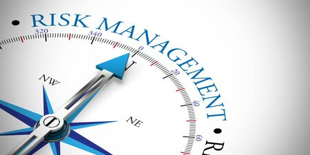 Arrow of a compass pointing to risk management concept (3D Rendering)