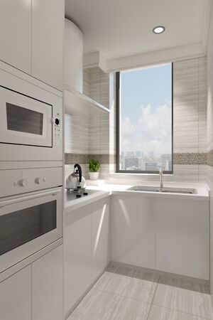 Small clean white kitchen with window and stove (3D Rendering) Stock Photo