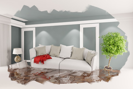Flooded room with floating furnitare after a flood (3D Rendering) Stock Photo