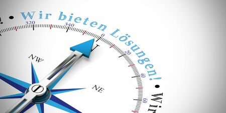 German slogan Wir bieten Loesungen! (we offer solutions) on a compass (3D Rendering) Stock Photo