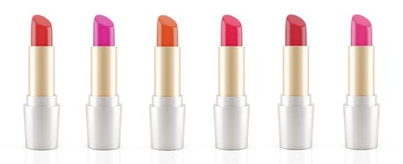 Lipstick in many different colors in a row isolated on white background (3D Rendering)