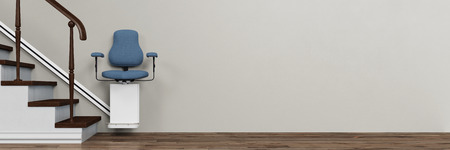 Panorama of stairlift at home for the elderly (3D Rendering) 스톡 콘텐츠
