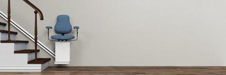Panorama van de traplift voor ouderen (3D rendering)