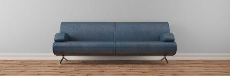 interior decor: Panorama of empty sofa in front of a wall (3D Rendering)