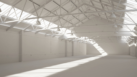 Empty clean white warehouse with daylight windows (3D Rendering)