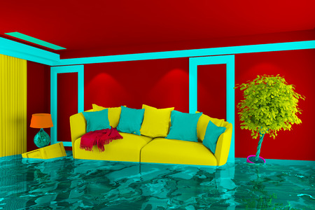 water damage: Colorful living room with floating furniture after water damage (3D Rendering) Stock Photo