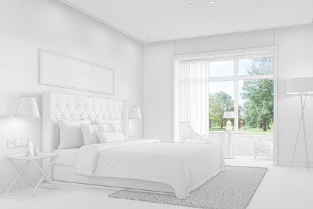 cad: Bedroom with double bed with CAD wireframe mesh (3D Rendering)